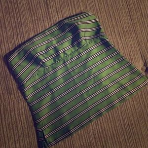 J. Crew Silk Green Striped Strapless Top