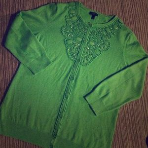 Talbots Beaded Lime 3/4 Sleeve Cardigan