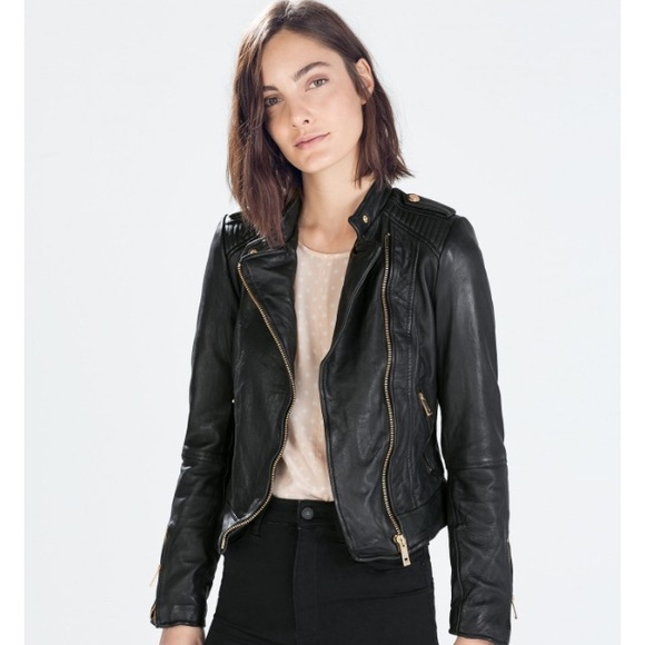 Zara - Zara leather jacket with rose gold hardware from Sue's ...