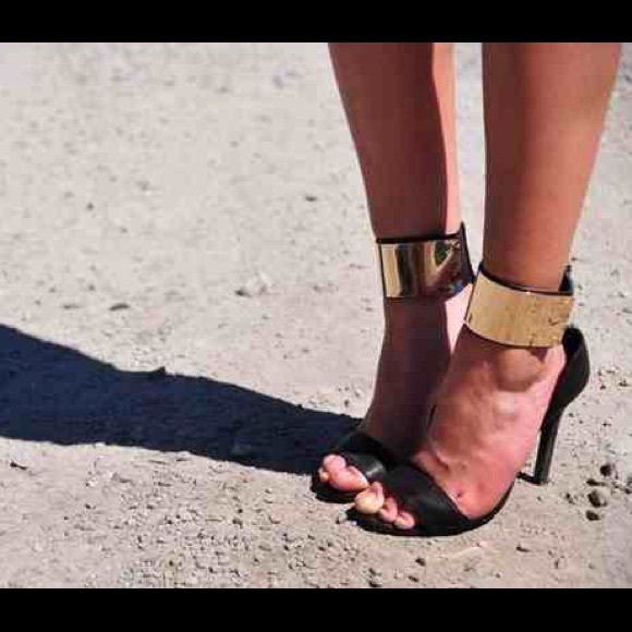 46e333417fb gold ankle cuff heels