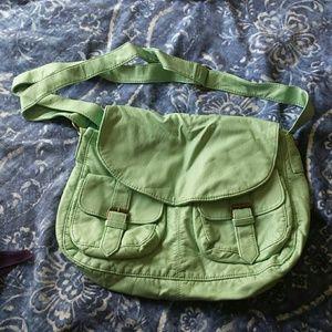 Mint Green Faux Leather Messenger Bag