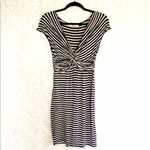 Max Studio grey and navy striped jersey dress.