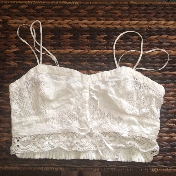 eca18057d7c American Eagle Outfitters Tops - American eagle White crochet/ embroidered  crop top