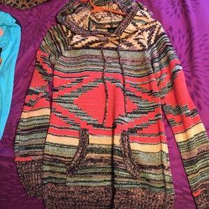 Aztec Print Hooded Sweater