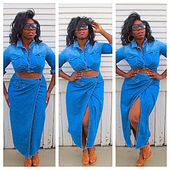 86b80e880 Liz Wear Skirts | Final Saledenim Wrap Button Skirt | Poshmark