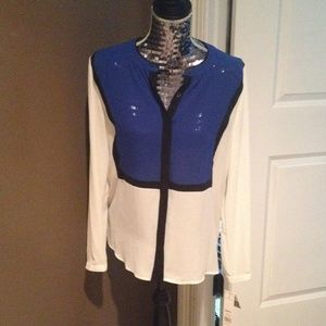 White and blue dress top