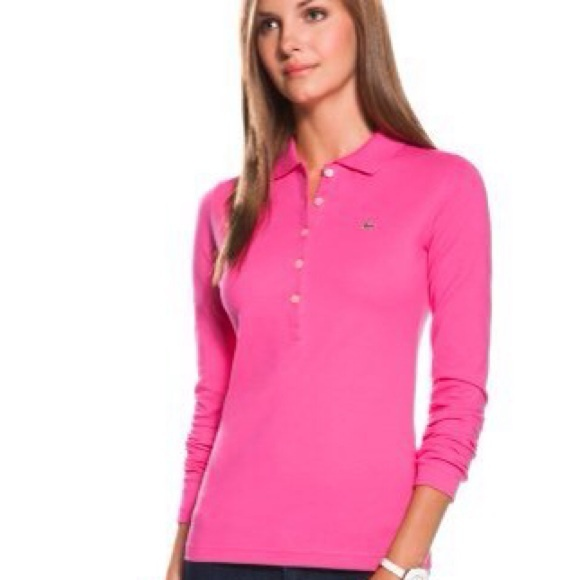 Pink Long Sleeve LACOSTE Polo (ONLY)