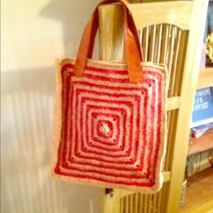 Straw bag beach summer CORAL cognac, tote shopper