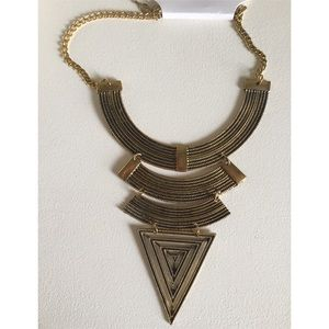 Triangle Brushed Gold Statement Necklace