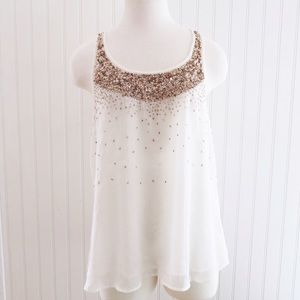 Charlotte Russe Tops - White & Gold Sequin Top