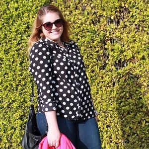 H&M Tops - Black & White Polka Dot Button Up