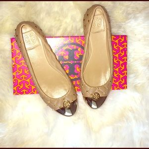 $110 on m Tory burch gold tan quilted ballet flats