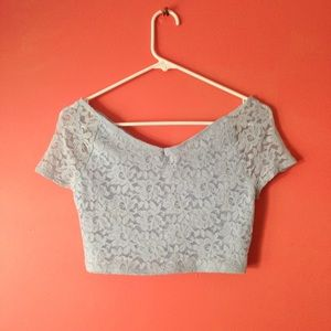 Topshop blue lace crop top