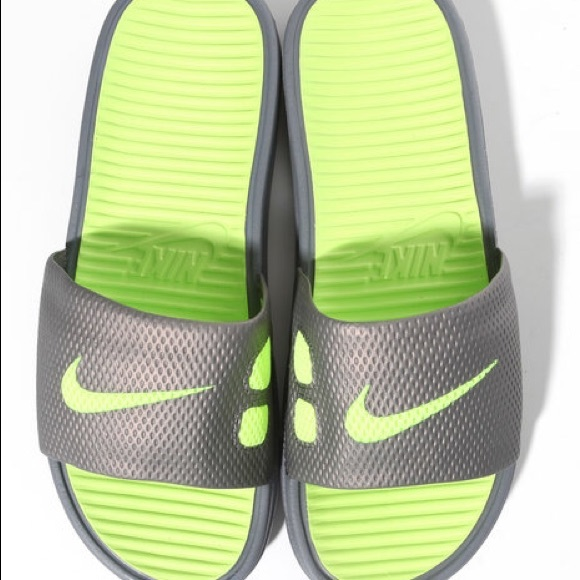 01083c52364e Nike Shoes - Nike Slides Green Gray
