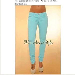 Hot Miami Style Turquoise Blue Skinny Jeans