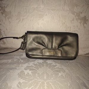 Coach metallic leather wristlet!