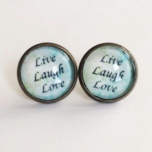 Handmade Jewelry - 3 for 15🎀 live laugh love bronze tone earrings