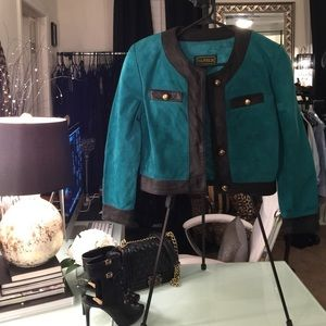 Jackets & Blazers - Vintage green and black suede jacket