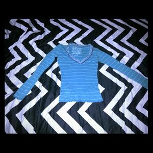 Teal sweater with white stripes and lace