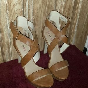 6 inch tan leather heels worn once