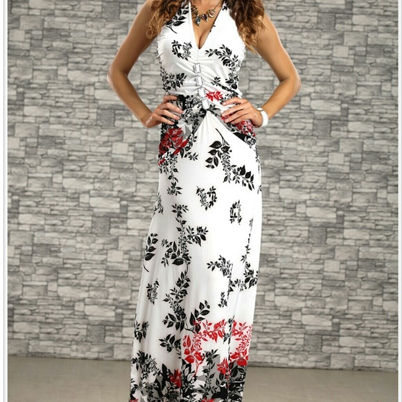 2835b4226790 Dresses & Skirts - Elegant Black/White/Red Floral Summer Maxi Dress