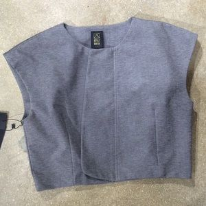 Style Mafia Tops - Boat neck crop top lined gray