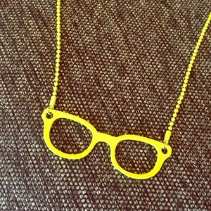 Neon yellow glasses necklace