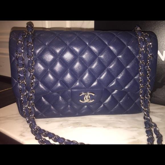 a3ce5cbad405 CHANEL Bags | Navy Blue Caviar Doubleflap Jumbo Bag | Poshmark