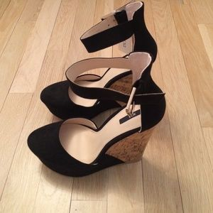 Forever 21 Shoes - Black wedges with ankle strap