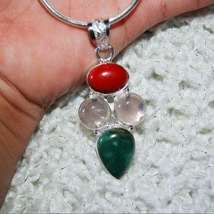 "handmade & handcrafted gemstone jewelry  Jewelry - Onyx Coral & Chrysoprase Pendant 2 1/2"""