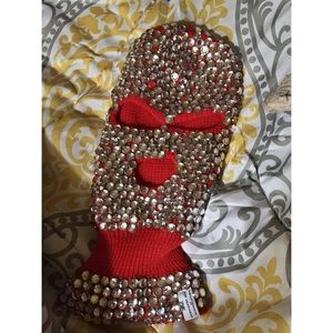 Blinged-Out Red Ski Mask