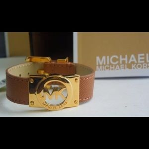 Michael Kors MK Gold Logo Brown Saffiano Leather