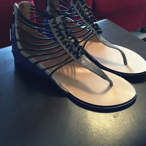 L.A.M.B. Shoes - L.A.M.B. Blue Bicolor Leather Sueded Sandals