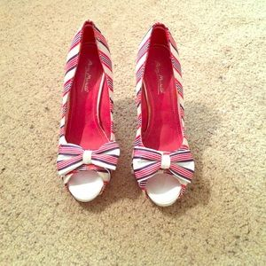 Blue white red candy striped heels
