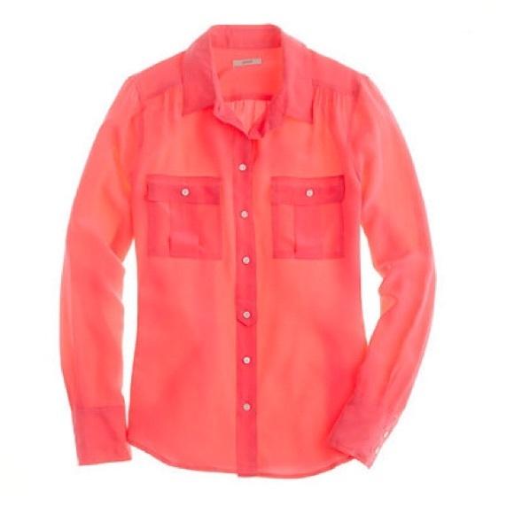 J Crew Hot Pink Silk Blouse 18