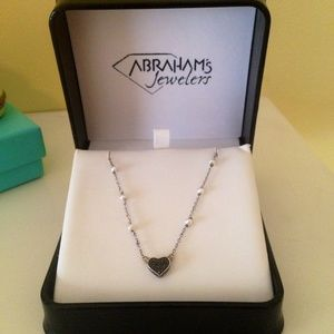 Jewelry - Black Diamond Necklace with pearls, silver chain.
