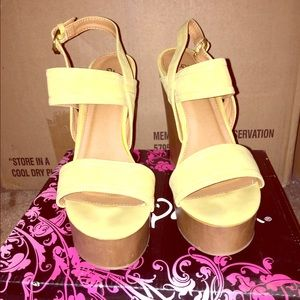 Shoes - Yellow Ankle Strap Wedges 🌼