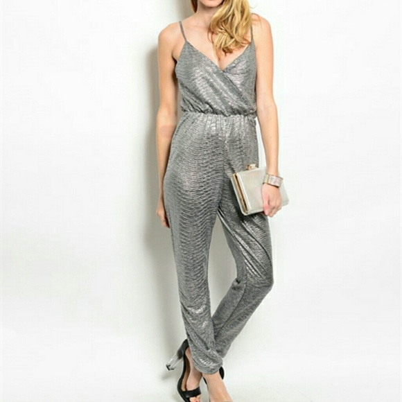 91db800ce355 NWT! Metallic silver jumpsuit. M 550a18294225be167700572c