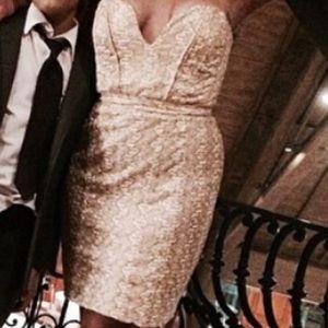 Glittery gold strap less dress