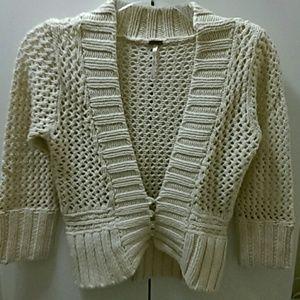 New Free People Knit Sweater Cardigan Cream Small