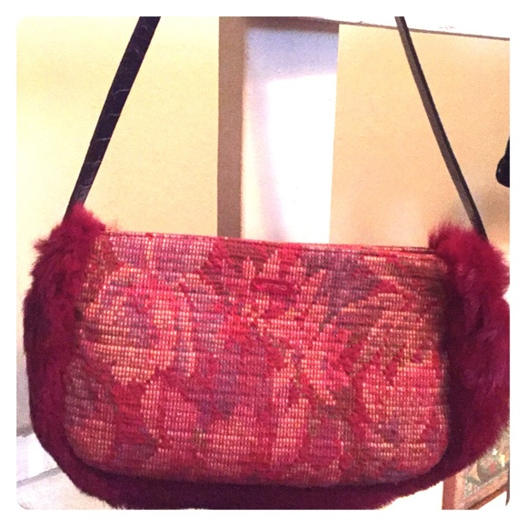 bb2ac73574a05 Etro Bags | Tapestry Bag With Rabbit Fur Trim | Poshmark