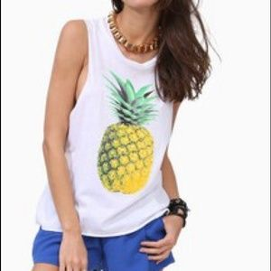 Pineapple Yellow mint and white shirt