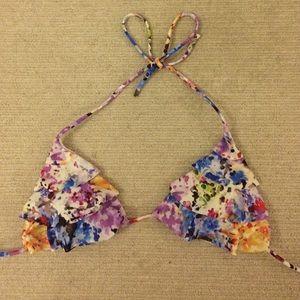 Ruffled floral bikini top