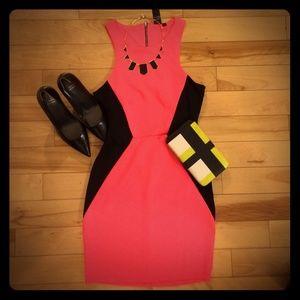 NWT Neon Pink/Black Open Back Dress