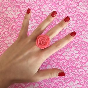 New! Urban Outfitters Pink Rose Ring Floral Bloom