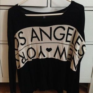 "Charlotte Russe Tops - Charlotte Russe ""Los Angeles, New York"" Sweater"