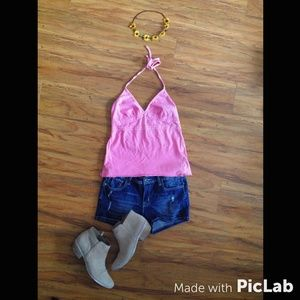 American Eagle Outfitters Tops - AE Pink Crochet Halter Top