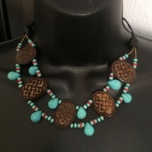 Authentic Turquoise & Wood Necklace