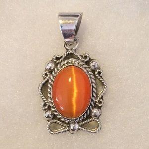Vintage Orange on Sterling Silver .925 Pendant