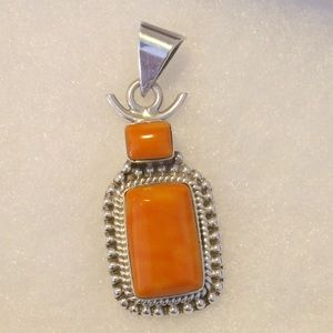 Vintage Orange Sterling Silver .925 Pendant